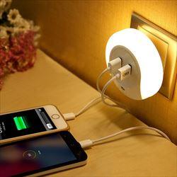 USBポート付きLEDナイトライト